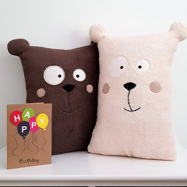 Teddy bear pattern for stuffed pillow_easy sewing project for beginners