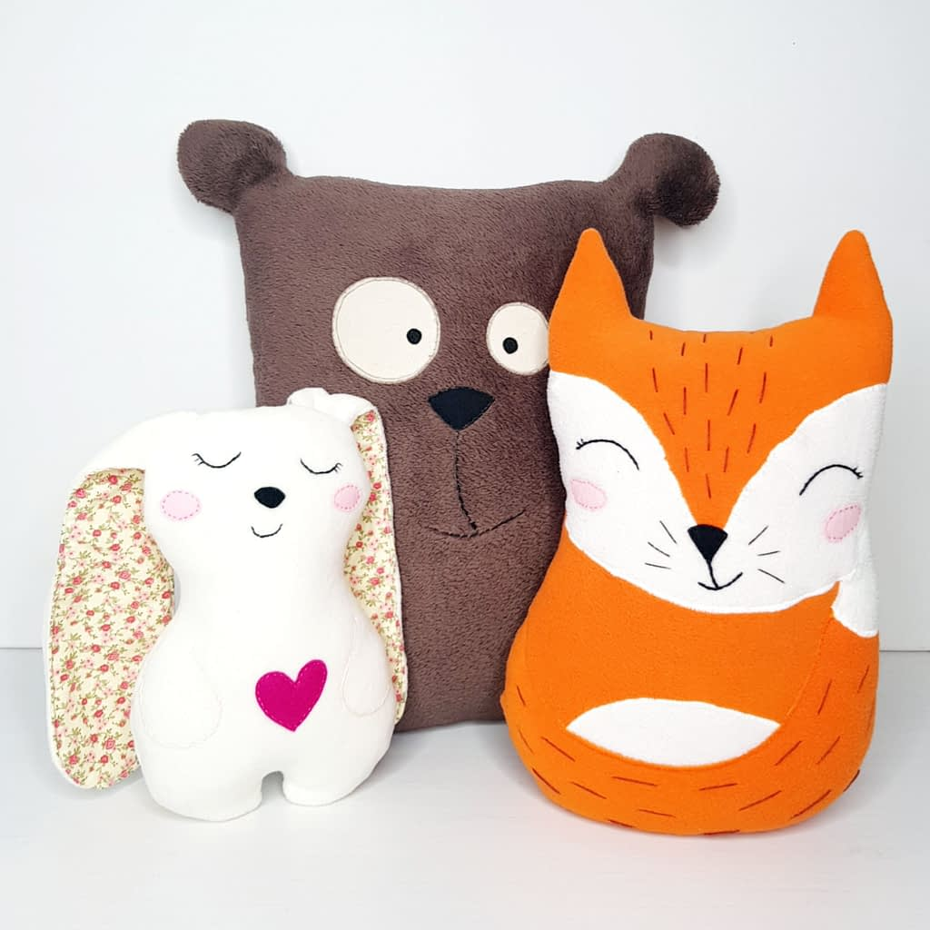 Easy sewing projects for beginners leraning to sew_ stuffed animal toys_ cute and easy to make bunny, tedy bear and fox