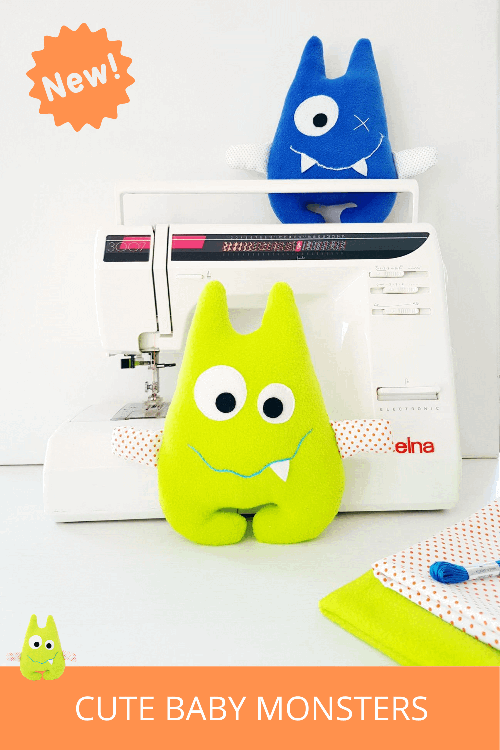 Cute baby monsters sewing pattern for beginners