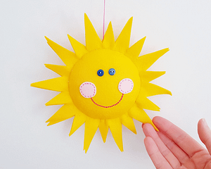 Easy sewing end embroidery pattern SUN with the smiley face