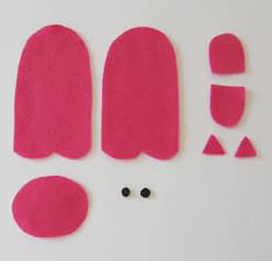 free pattern for finger puppets, piggy