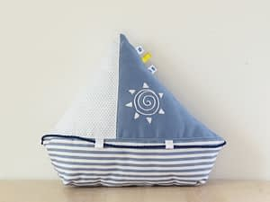 Sailboat toy pillow sewing pattern and tutorial for beginners
